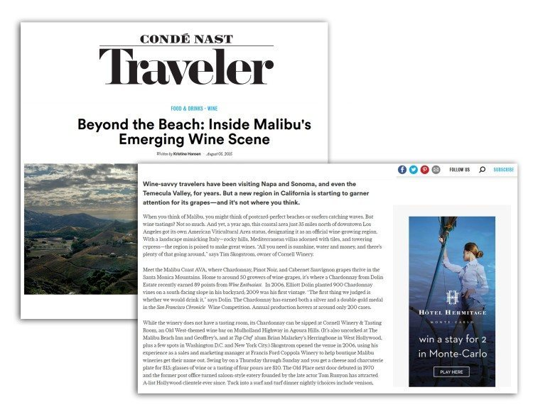 Dolin Estate included on Conde Nast Traveler online