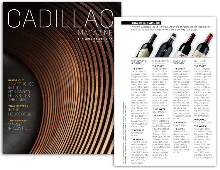 Cain, Ehlers, Stony Hill and Cliff Lede featured in Cadillac Magazine