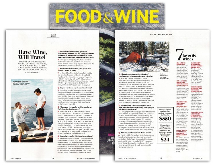 Dalla Terra and Brian Larky featured in Food & Wine