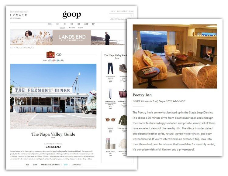 Poetry Inn featured on Goop.com