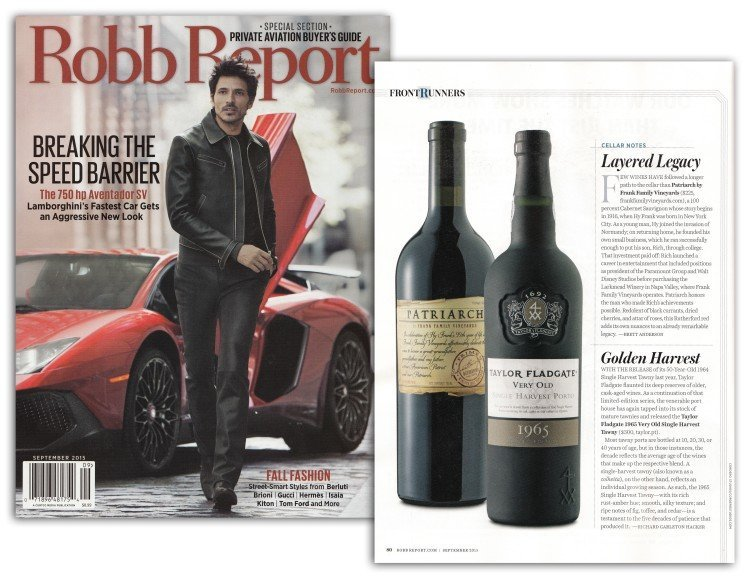 Frank Family Vineyards Patriarch featured in Robb Report