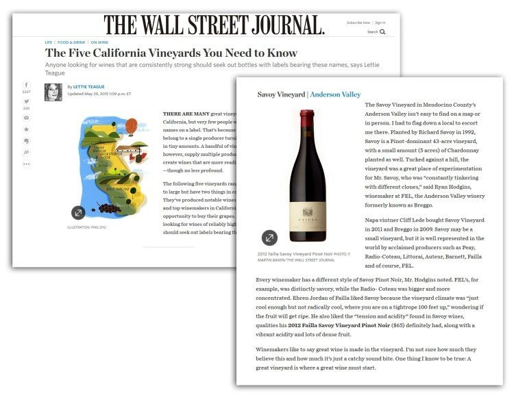 FEL Wnes featured in The Wall Street Journal