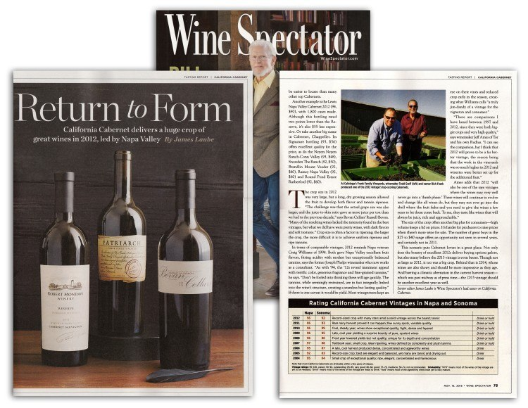 Frank Family Vineyards Patriarch featured in Wine Spectator